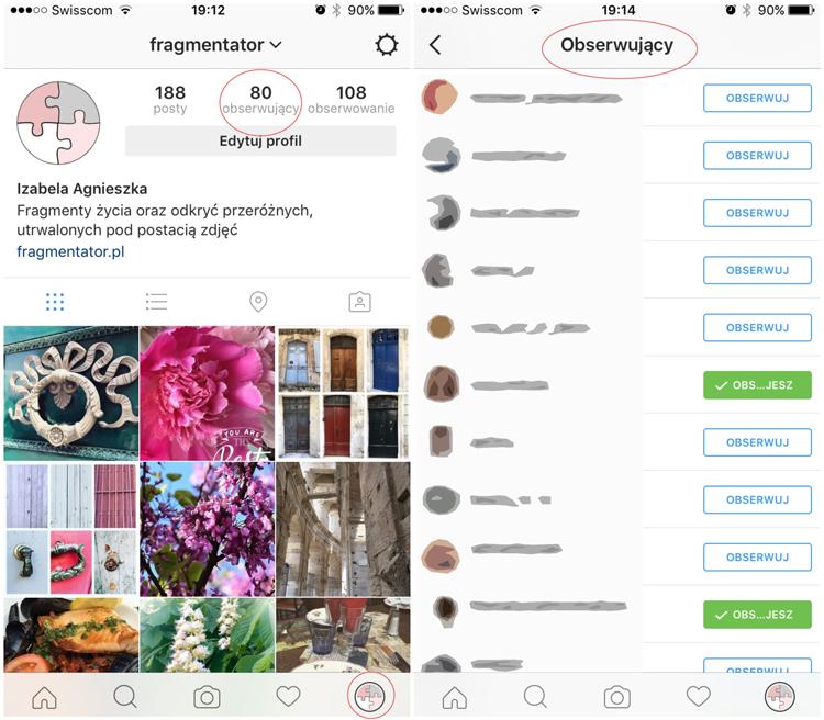 Obserwowanie innych na Instagramie