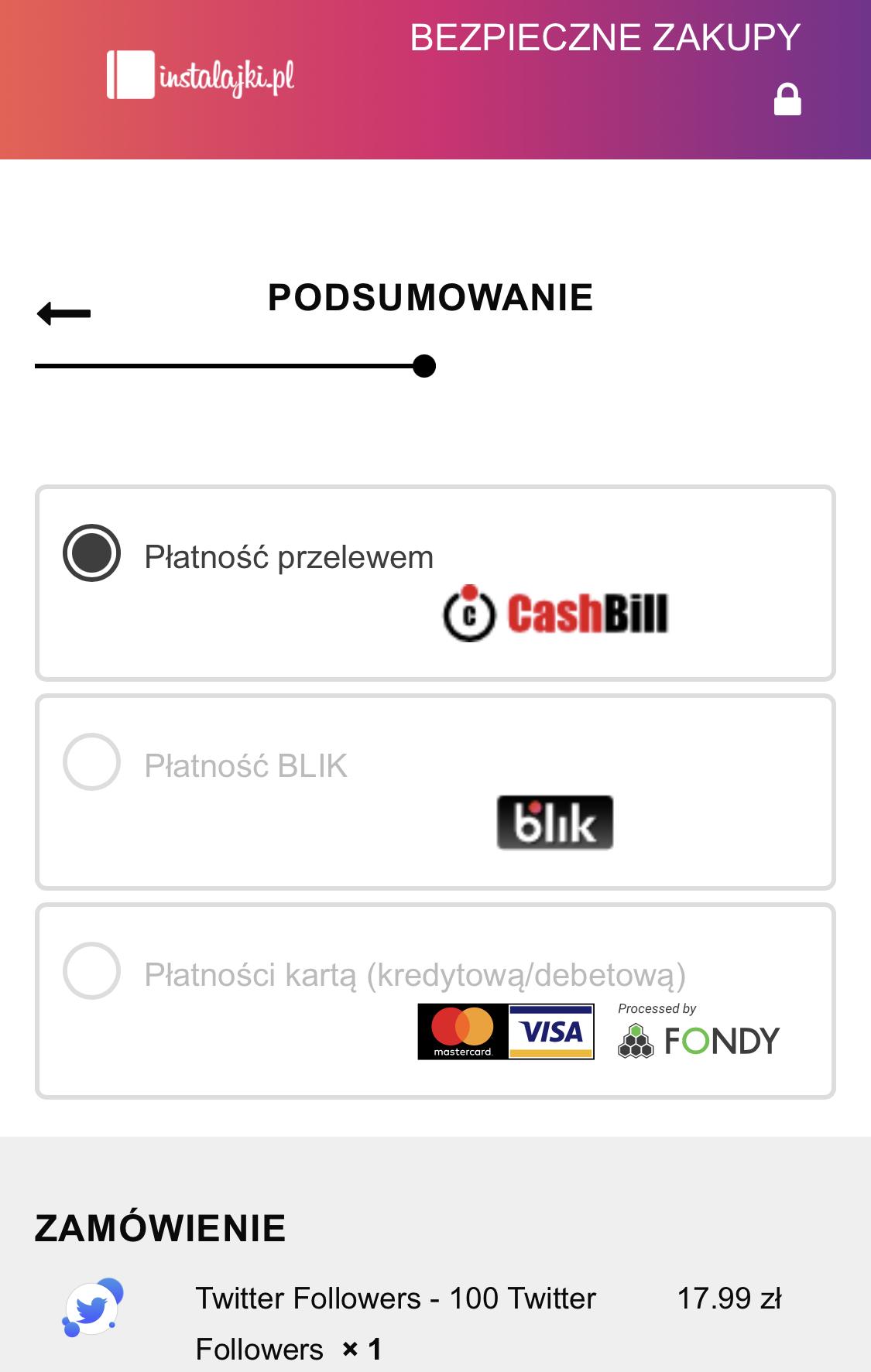 metody płatności na instalajki